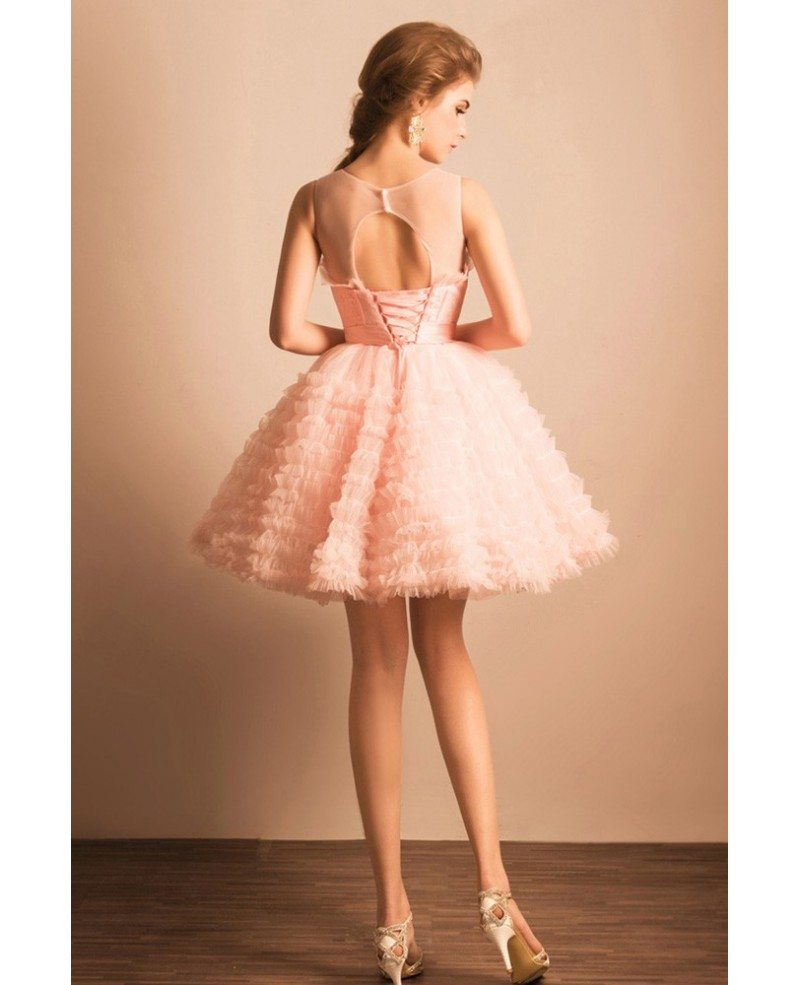 Super Cute Pink Puffy Short Ballgown Prom Dress With Bow #AGP18457 ...