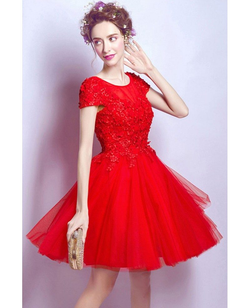 short red lace party dress with cap sleeves petals