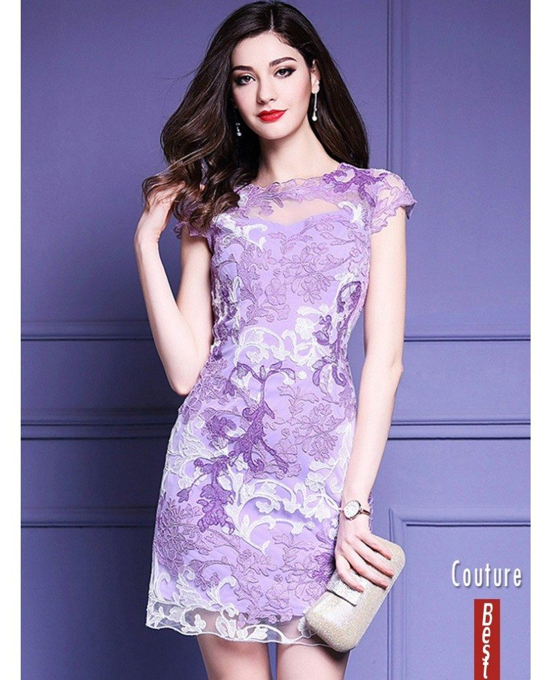 High Quality Purple Embroidery Bodycon Dress For Wedding Guests ...