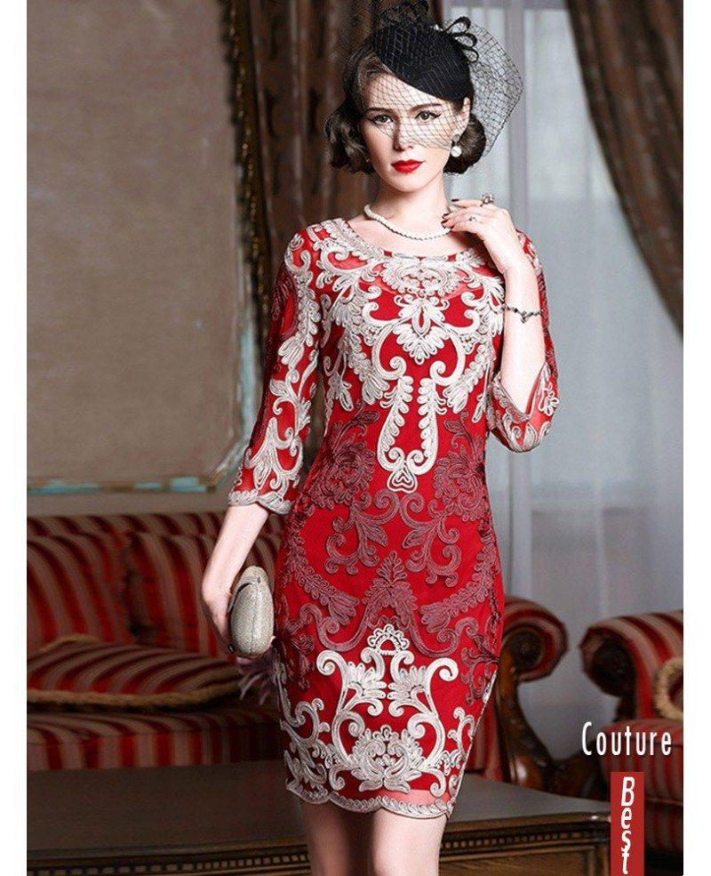 High-end 3/4 Sleeve Bodycon Dress For Weddings Women Over