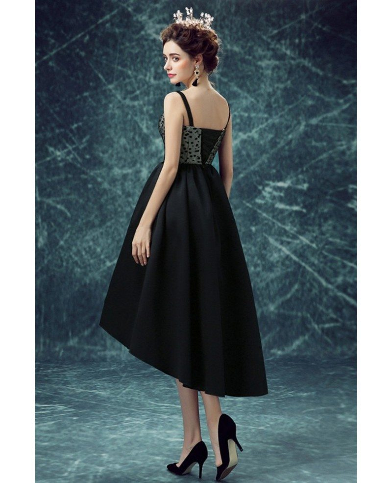 Vintage Black Polka Dot High Low Prom Party Dress For Teens ...