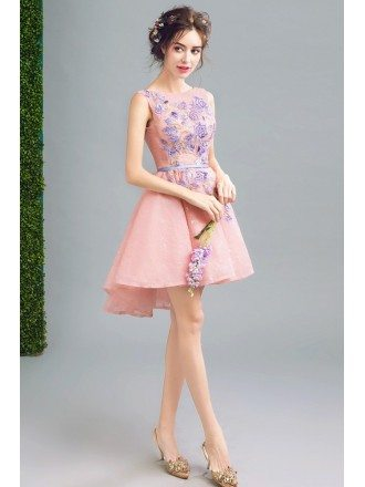 Super Cute Pink Short Prom Party Dress With Embroidery Flowers