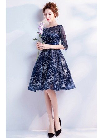 Sparkly Short Navy Blue Homecoming Party Dress With Sleeves