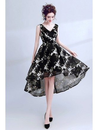 Vintage Black With White Prom Dress High Low Sleeveless