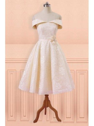 Champagne Lace Off Shoulder Tea Length Wedding Party Dress with Sash