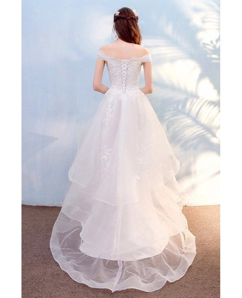 Pretty Lace High Low Beach Wedding Dress With Off Shoulder