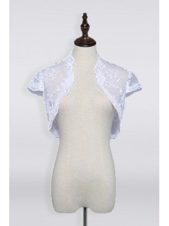 Cap Sleeve Wedding Wrap Wedding Jacket with Lace In White Or Ivory