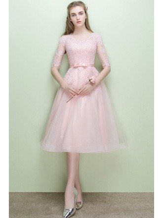 Cute Pink Lace Half Sleeve Tulle Wedding Party Dress Knee Length