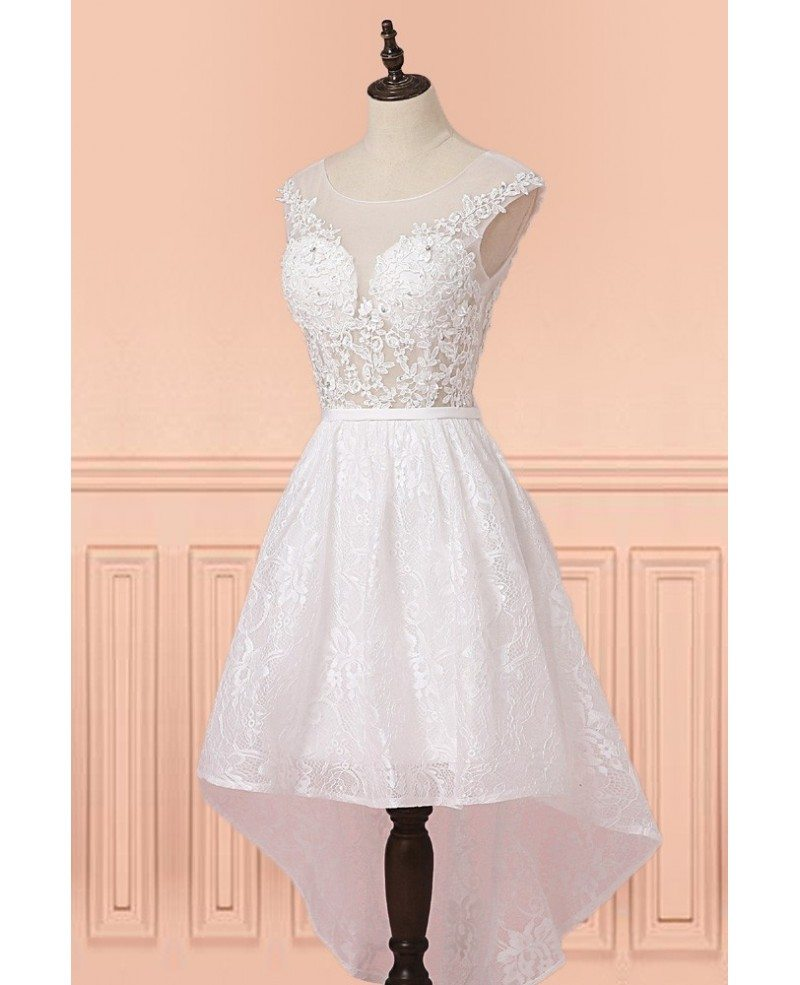 Pretty White Lace Sheer Neckling High Low Short Wedding