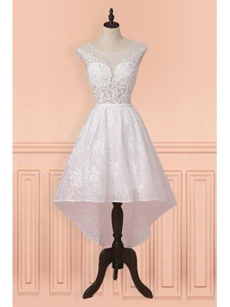 Pretty White Lace Sheer Neckling High Low Short Wedding Dress Country Weddings