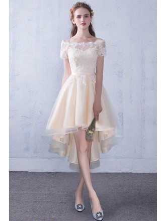 Off Shoulder Lace High Low Champagne Wedding Reception Dress Party Dress