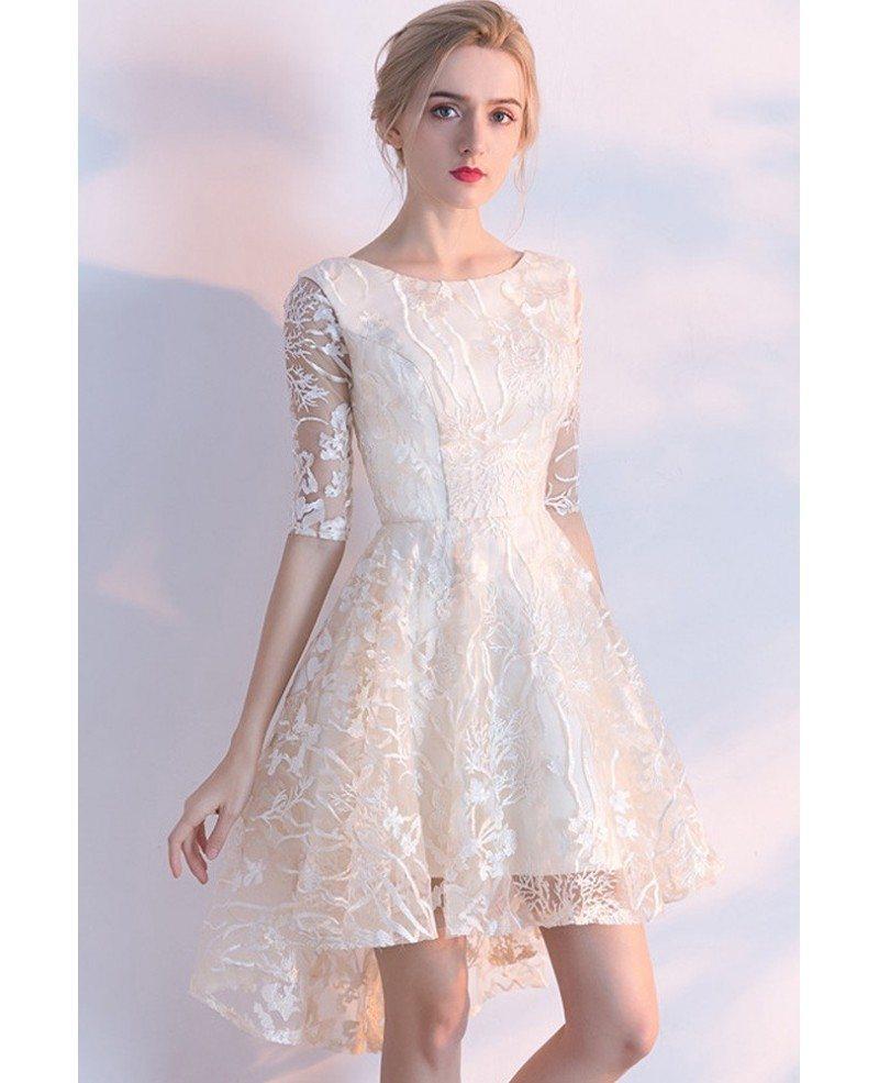 Champagne Lace Short Dress: Unique Lace Light Champagne High Low Short Party Dress
