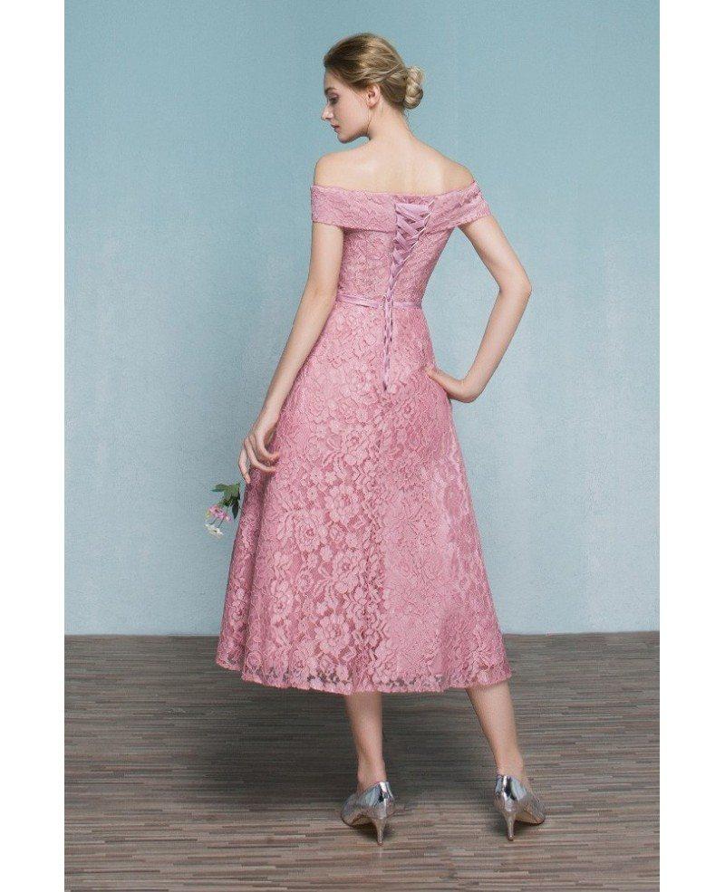 Pink Lace Tea Length Off Shoulder Wedding Party Dress Reception ...