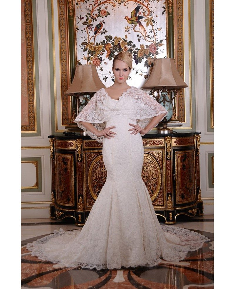 Mermaid strapless chapel train lace wedding dress gm4028 for Wedding dresses chapel train