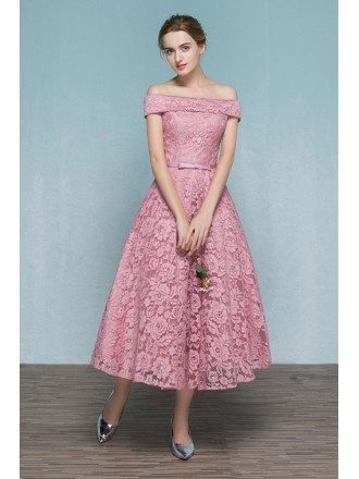 Pink Lace Tea Length Off Shoulder Wedding Party Dress Reception Parties