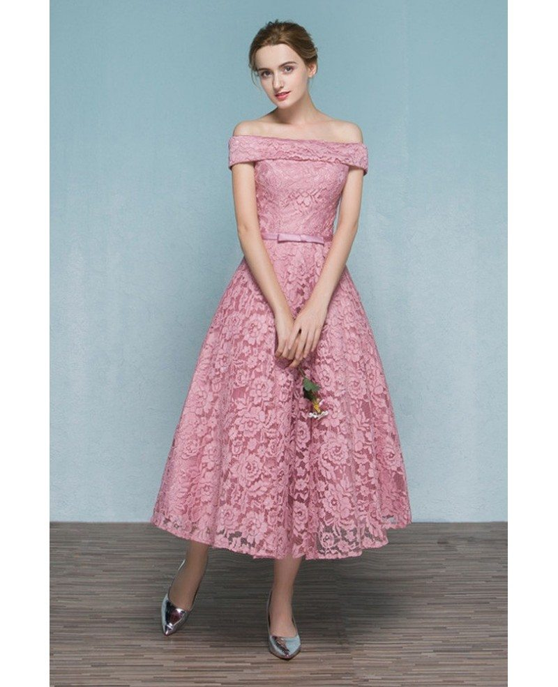 Pink Lace Tea Length Off Shoulder Wedding Party Dress Reception ...