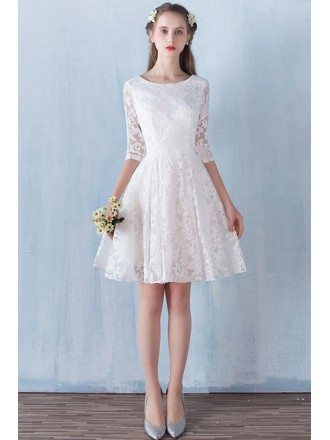 Ivory Lace Aline Short Wedding Party Dress with 3/4 Sleeves