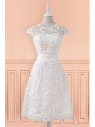 Modest Lace Cap Sleeve Lace Short Wedding Dress For Mature Brides Reception Party