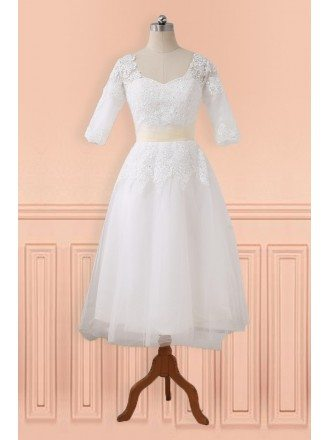 Modest Lace Half Sleeve Tea Length Tulle Wedding Dress with Sash