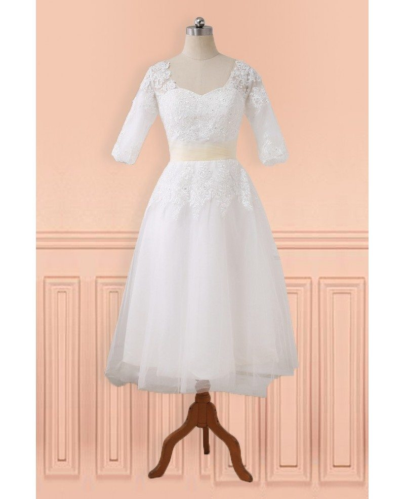 Modest Lace Half Sleeve Tea Length Tulle Wedding Dress