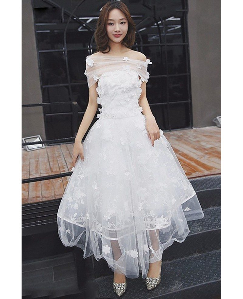 Gorgeous Off Shoulder Tulle Tea Length Wedding Dress With