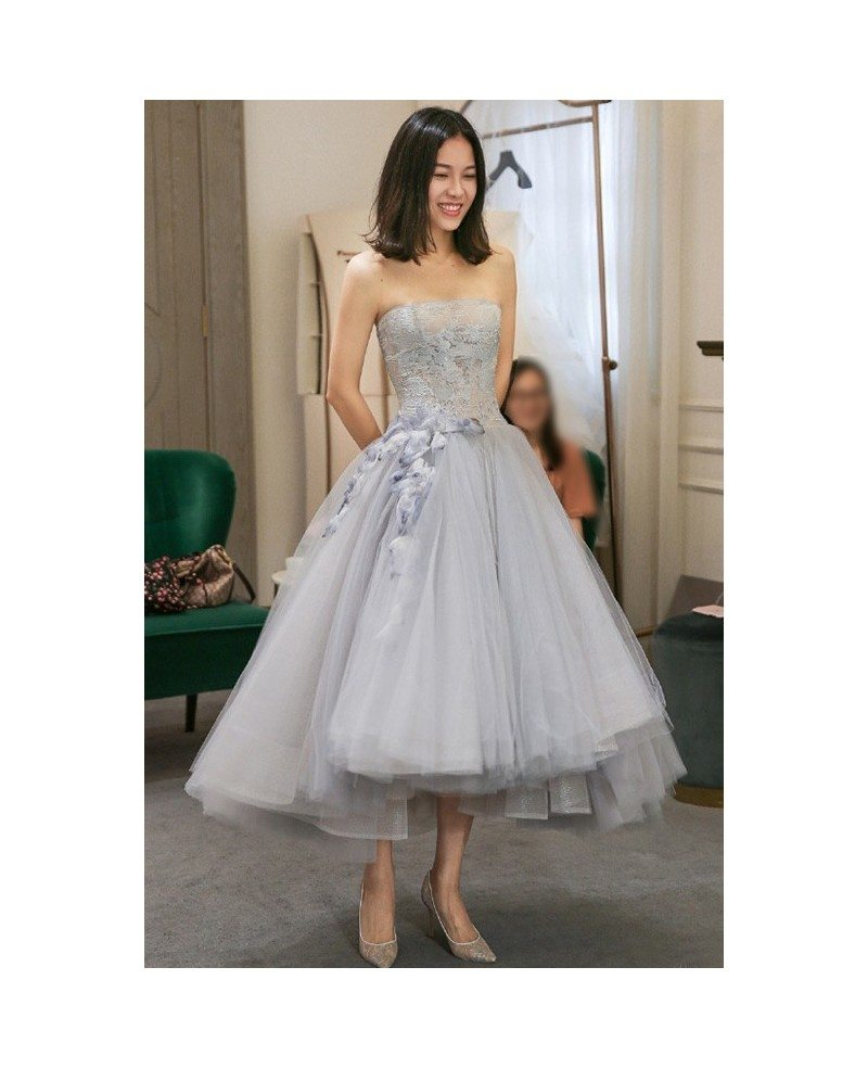 High low grey tulle strapless wedding party dress tea for Tulle high low wedding dress
