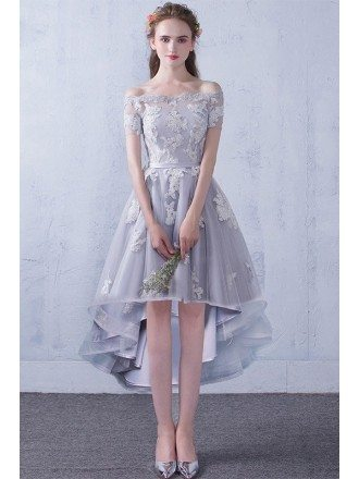 Grey Lace Off Shoulder Sleeves High Low Party Dress Wedding Reception Dress