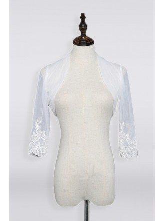 Organza 3/4 Sleeve Wedding Jacket Wedding Jacket For Wedding Dress