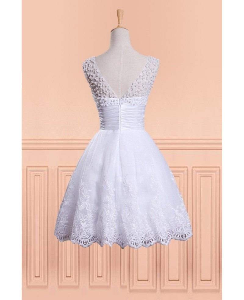 Funny Wedding Gowns: Vintage Chic Beaded Pearls Fun Short Wedding Dress With