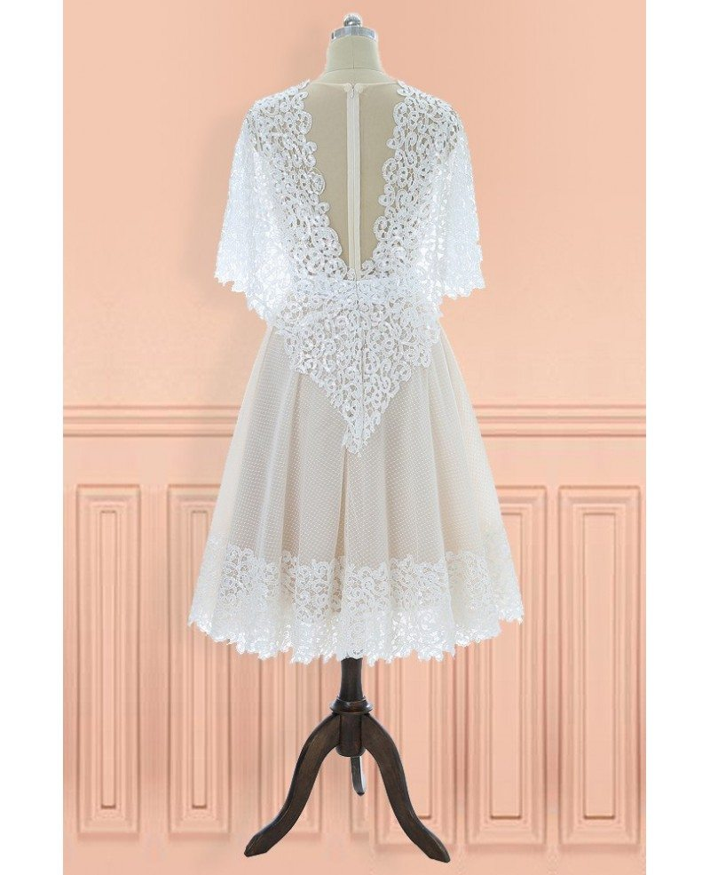 Unique Vintage V-neck Lace Knee Length Wedding Dress With