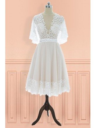 Unique Vintage V-neck Lace Knee Length Wedding Dress with Sleeves