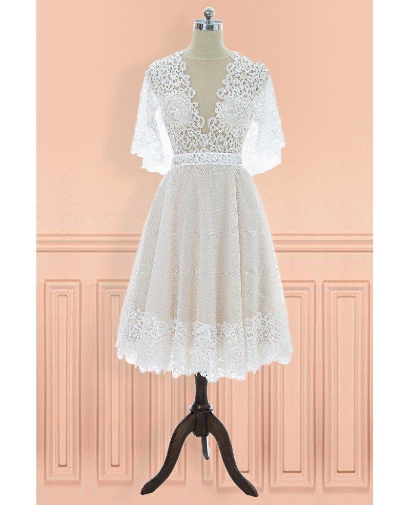 Unique Vintage V-neck Lace Knee Length Wedding Dress With