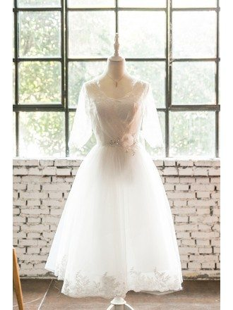 Tea Length Lace Trim Wedding Dress with Lace Up Sheer Sleeves