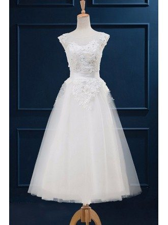 Modest Aline Lace Tea Length Tulle Wedding Dress with Cap Sleeves