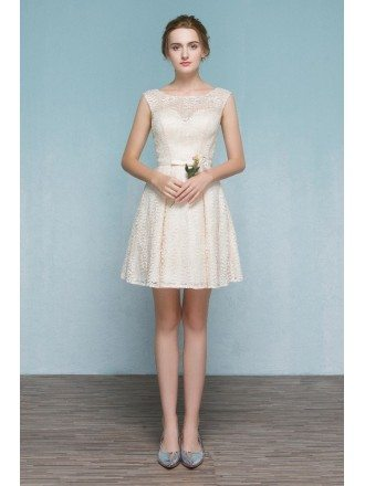 Light Champagne Short Lace Party Dress Bridesmaid Dress