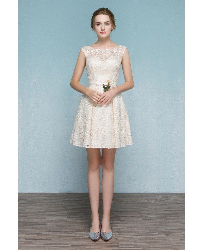 Champagne Lace Short Dress: Light Champagne Short Lace Party Dress Bridesmaid Dress