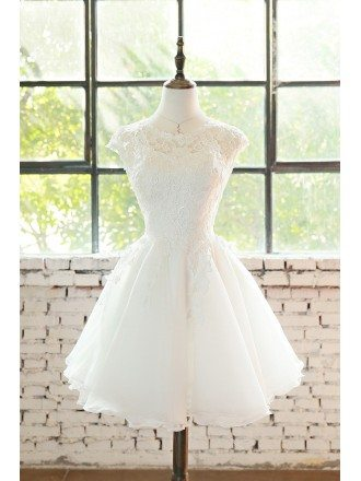 Cute Short Lace Cap Sleeve Short Wedding Dress Lace Tulle