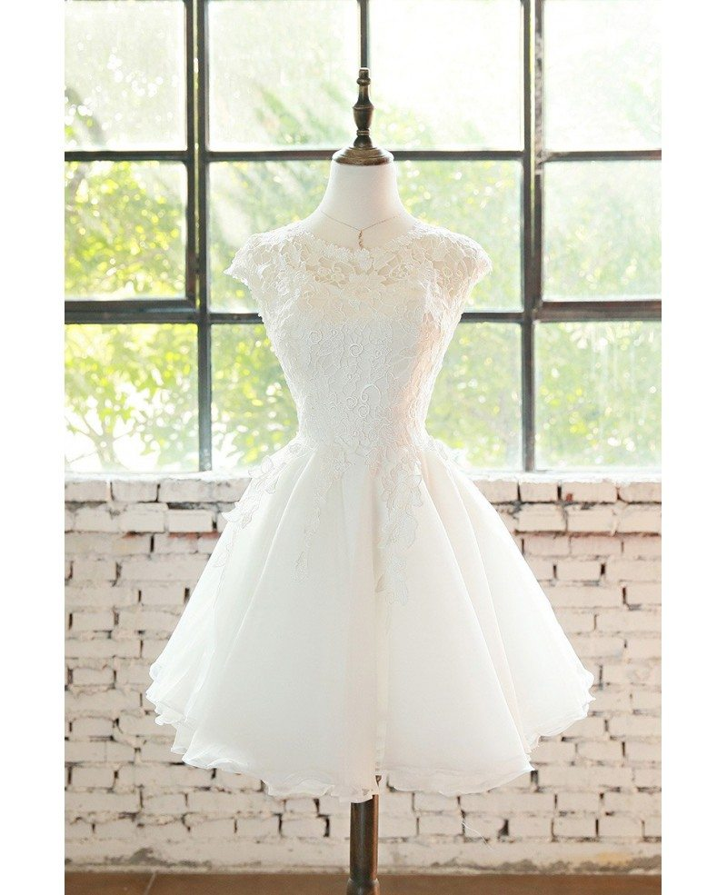 Cute Short Lace Cap Sleeve Short Wedding Dress Lace Tulle #E9816 ...