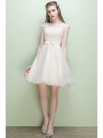 Pretty Champagne Cap Sleeve Short Party Dress Reception Dress with Lace