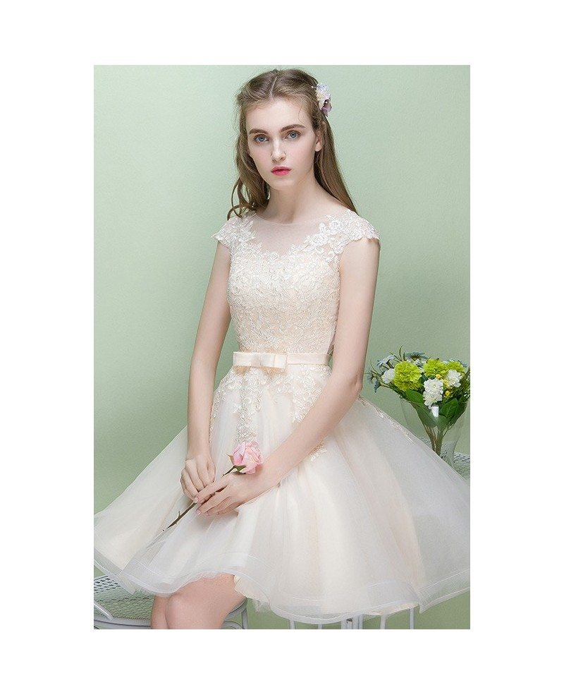 Champagne Lace Short Dress: Pretty Champagne Cap Sleeve Short Party Dress Reception
