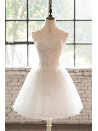 Sequined Sheer Neckline Short Tulle Wedding Party Dress with Lace Sheer Back