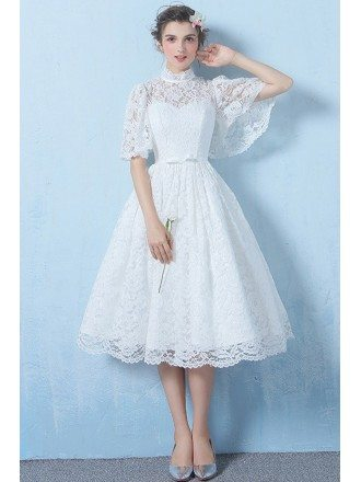 Special Lace High Neck Full Lace Wedding Dress Knee Length with Sleeves