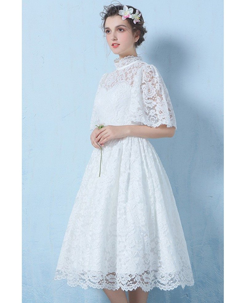 Special Lace High Neck Full Lace Wedding Dress Knee Length