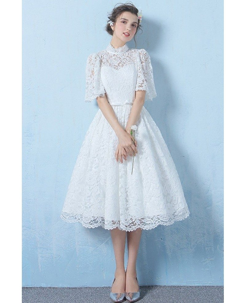 Special lace high neck full lace wedding dress knee length for Knee high wedding dresses