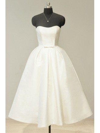 Vintage 70s Ivory Satin Sweetheart Tea Length Wedding Dress For Chic