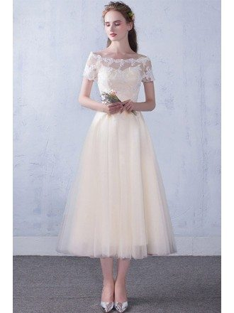 Off Shoulder Sleeve Champagne Tea Length Wedding Party Dress with Lace