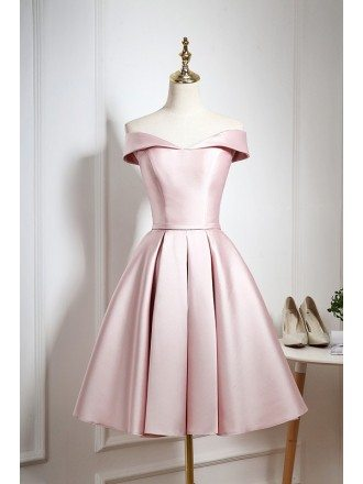 Gorgeous Pearl Pink Off Shoulder Knee Length Party Dress with Ruffle