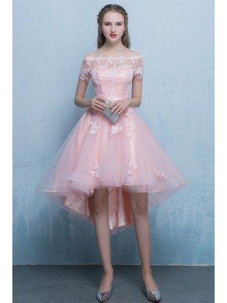 Pink High Low Lace Tulle Homecoming Party Dress with Off Shoulder Sleeves