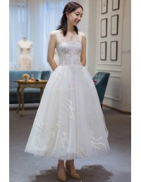 Unique Beaded Lace Sheer Neckline Reception Dress Tea Length Wedding ...
