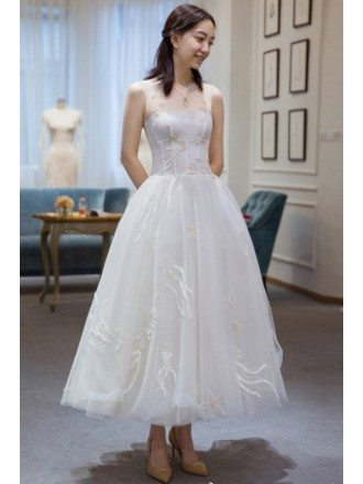 Unique Beaded Lace Sheer Neckline Reception Dress Tea Length Wedding Dress